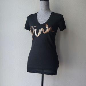 VS PINK Sequin V-Neck T-shirt